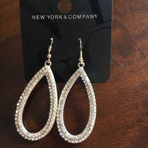 NY&Co. Crystal pave hoop earrings